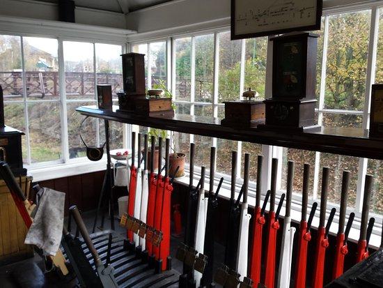 Beamish, UK: The signal box at the station