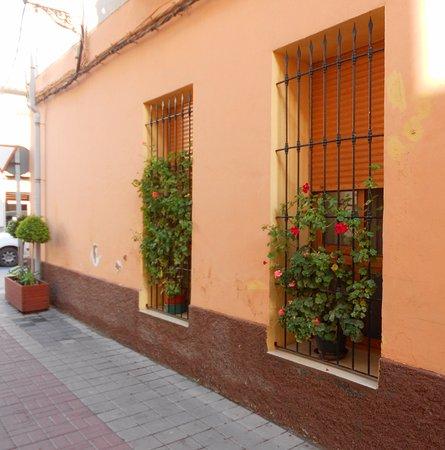 Catral, Espanha: ventanas enrejadas con geranios