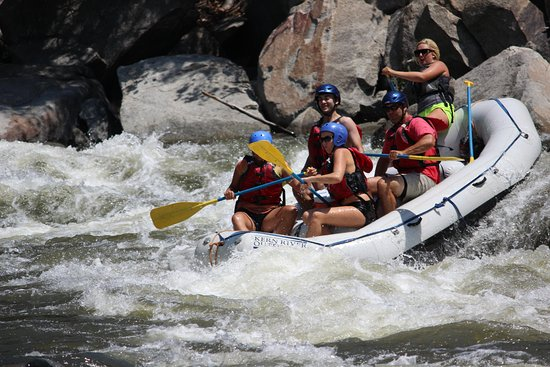 Wofford Heights, CA: Jessica making the move with her group at Hari Kari rapid on the Lower Kern river.