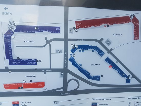 Gilroy Premium Outlets: Mapa.