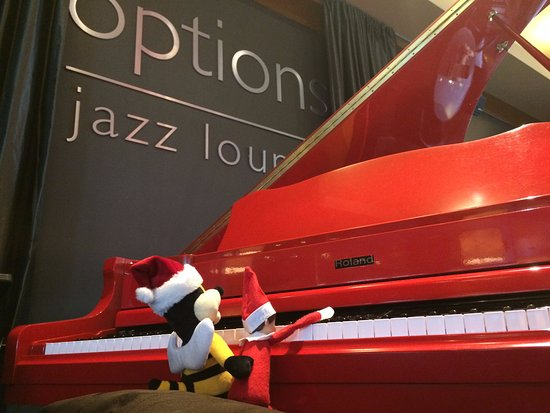 Ottawa, Canada: Our Elf on the Shelf, Jazzy, and our mini mascot, Buzz, jazz'n it up in Options Jazz Lounge!