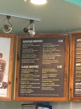 Ankeny, IA: Smoothie menu