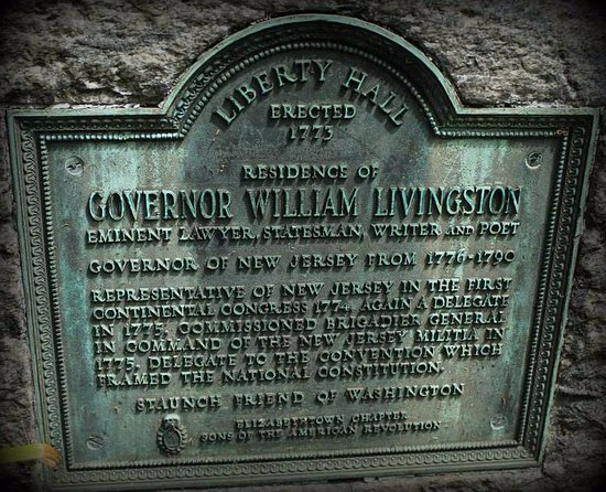 Union, NJ: Liberty Hall plaque