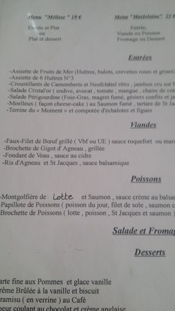 Arques-La-Bataille, France : Le menu