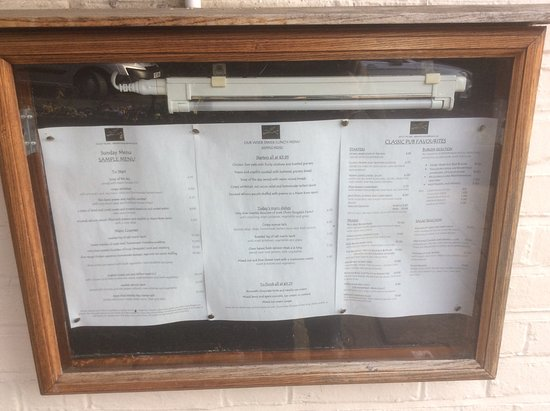 Boughton-under-Blean, UK: Menu displayed outside