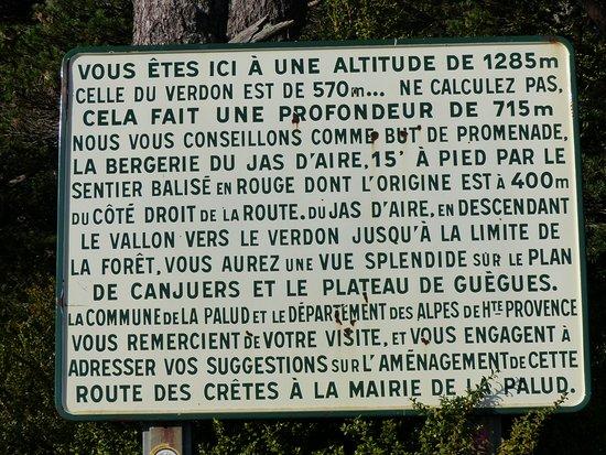 La Palud sur Verdon, Francia: panneau explicatif