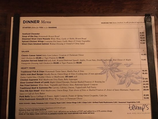 changes all the time but a sample of the menu for thanksgiving