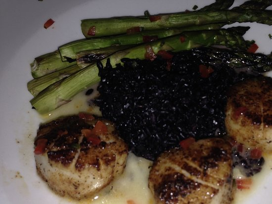 Diver Scallops with Black Rice
