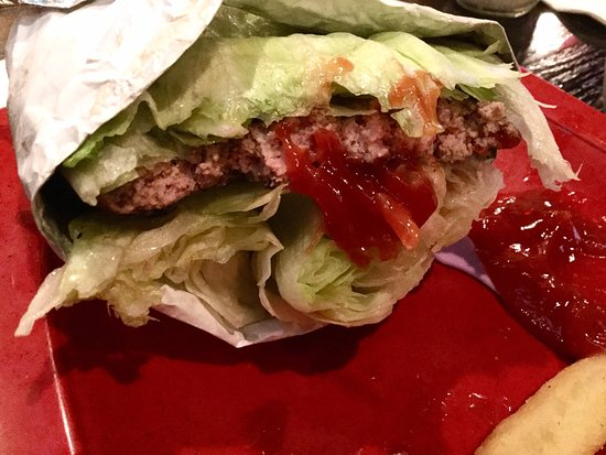Falls Church, VA: gf burger with lettuce wrap onions tomatoes