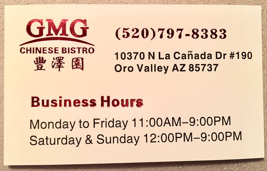 Oro Valley, AZ: Business card with hours.
