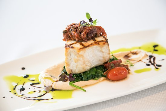 Pikesville, MD: Citron's Grilled Atlantic Swordfish with Tomato-Olive Compote and White Bean Mash