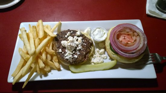 West Boylston, MA: Lamb burger topped with feta