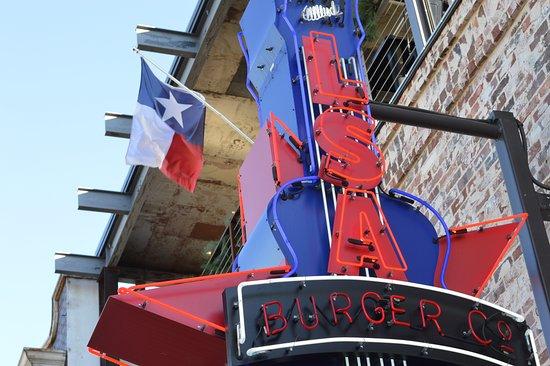 Denton, TX: LSA Burger Sign with Texas Flag