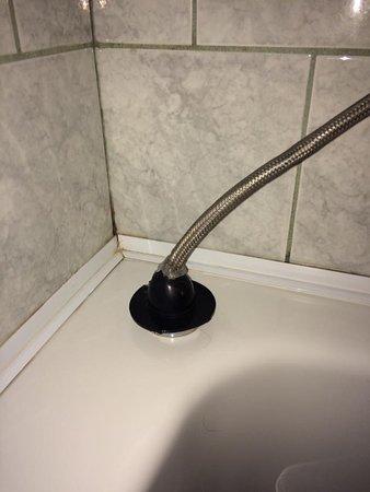Petite-Riviere-Saint-Francois, Canada: Tuyau pour la douche... Ils ont installé un bouchon de toilette posé à l'envers comme finition!