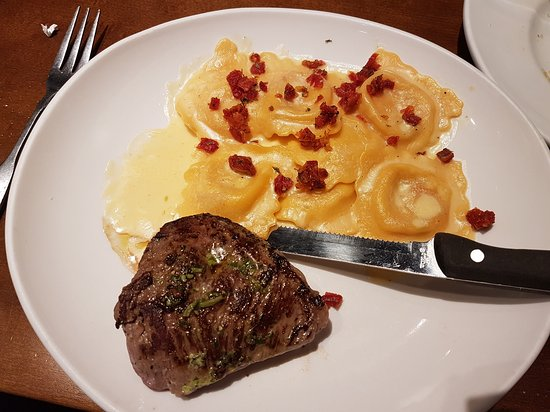 Warwick, RI: Lobster ravioli with 6oz sirloin for lunch