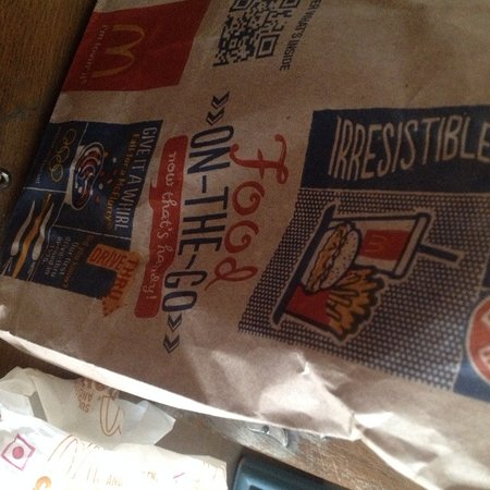 Greater Noida, India: Interesting McDonalds paper bags for takeaway.