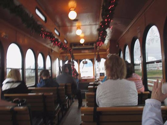 Big D Fun Tours: Inside the Trolley, it was warm on a cold day. Left side better for pics
