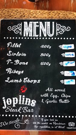Joplins Pub and Steak Grill: The most uncomplicated menu ever
