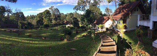Paksong, Laos: Morning garden and also the waterfall at the bottom of the resort