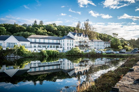 Eccles Hotel Glengarriff: View of hotel from Bantry Bay on Wild Atlantic Way