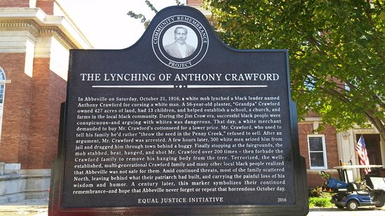 historical marker on Court Square, Abbeville, SC, Nov 2016