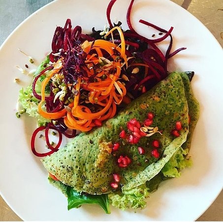 Hassocks, UK: Spinach Seeded Pancake (GF, vegan)