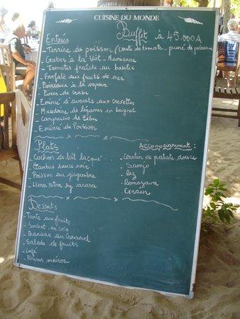 Chez Loulou : Exemple de menu du buffet du dimanche midi
