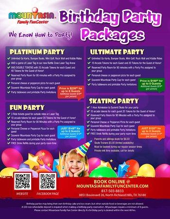 Βόρειο Richland Hills, Τέξας: Check out our great Birthday Party packages