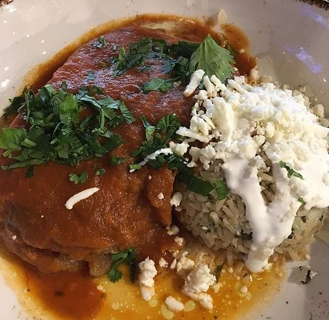 A chile relleno and a little bit of rice.