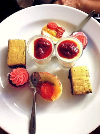 Plume Cafe: Sweets: fruit tartlets, red velvet cupcakes, vanilla pannacotta w/berry coulis & chocolate slice
