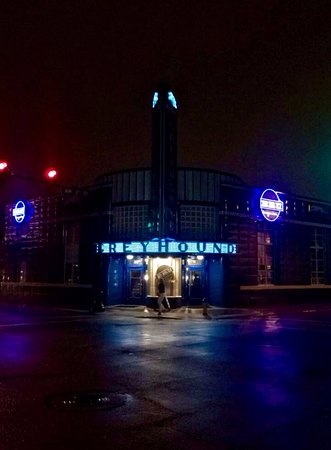 Evansville, IN: View of Bru Burger entrance from the opposite side of the street.