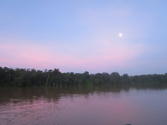 Kinabatangan District, Malasia: The river from the dining deck with super moon at dawn
