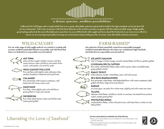 California Fish Grill - Lake Forest Menu