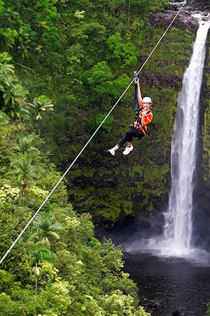 Honomu, Havai: Zipline over a 250 ft waterfall!