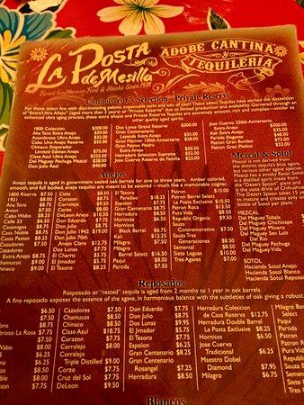 Mesilla, NM: Tequila menu