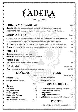 Ohope, New Zealand: Cadera drinks menu