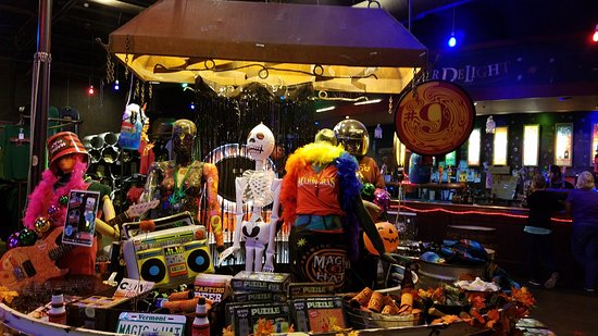 Magic Hat Brewing Company: stuff for sale with Halloween decorations out