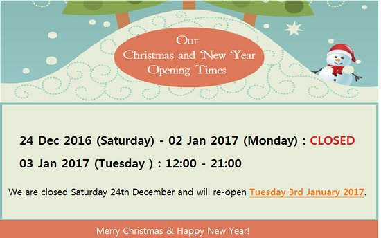 Sutton, UK: Christmas & New Year Opening Times 2016