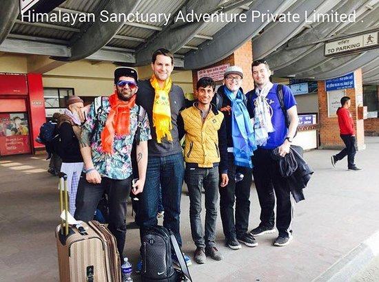 Kathmandu Valley, Nepal: Drago and his friends with Chairman Bishnu Bhatta