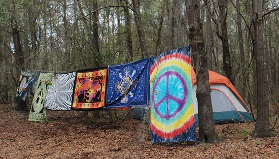 Live Oak, ฟลอริด้า: Many if not most campers hang tapestries for looks and privacy.