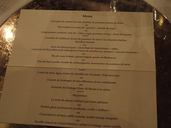 Ige, France: menu