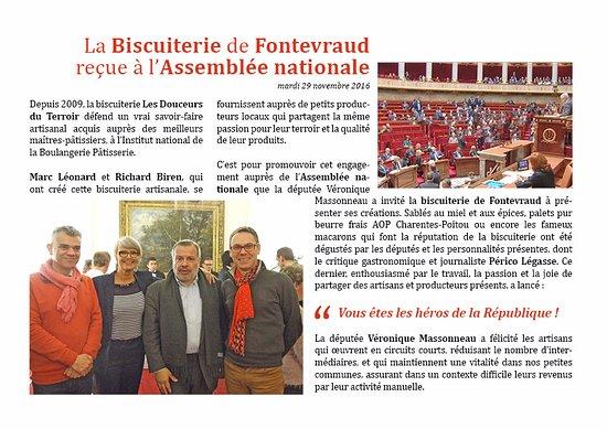 Fontevraud-l'Abbaye, Francia: La Biscuiterie artisanale de Fontevraud reçue à l'assemblée nationale pour présenter ses macaron