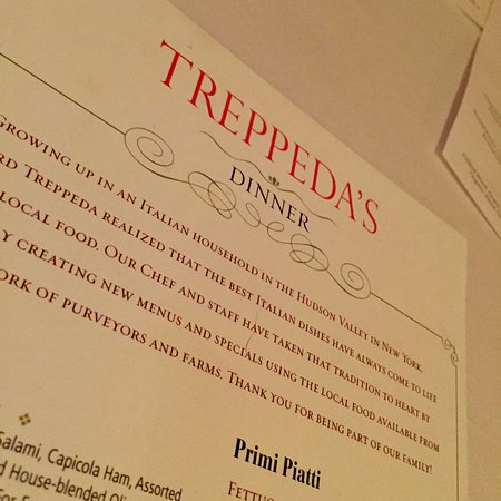 Menu at Treppeda's