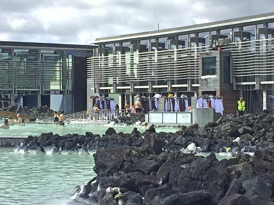 Grindavik, Island: The Blue Lagoon spa facilities, from the lagoon