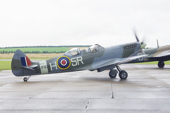 Duxford, UK: Spitfire on the tarmac