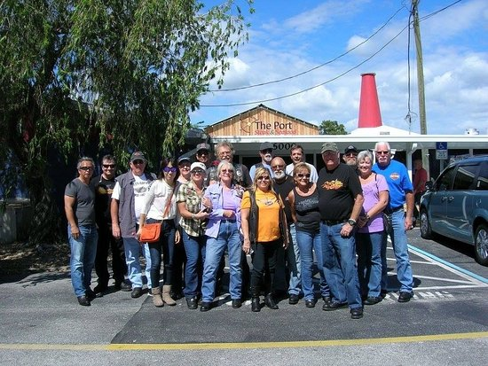 Haines City, FL: Our motorcycle group in front of the Port Steak & Seafood