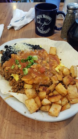 The Blue Moose: Chorizo Scramble with Home Fries.