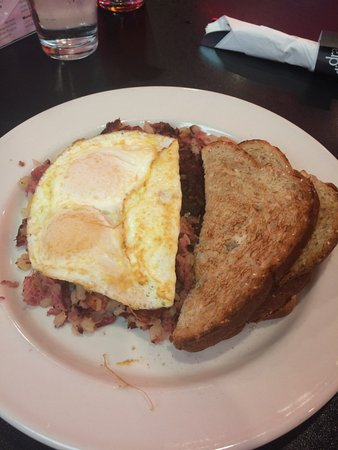 Drake Diner: Corned Beef Hash with eggs over easy & wheat toast