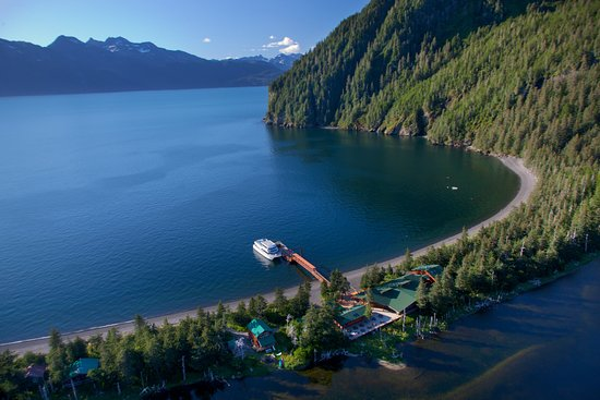 Aerial view of Kenai Fjords Wilderness Lodge.