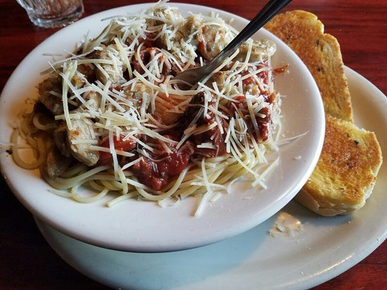 Iron Horse Spaghetti WITH Sonnenburg Sausage on top!! Ask for it cuz it's not on the menu. Soooo
